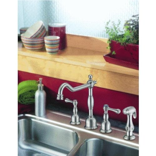 Danze D422057SS Opulence Two Handle Kitchen Faucet with Matching Side Spray, Stainless Steel