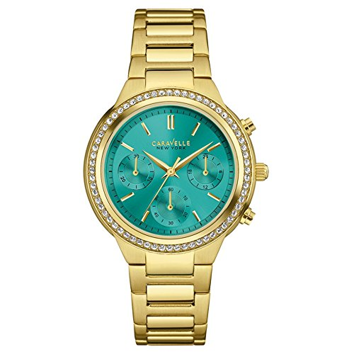 Caravelle New York Gold Boyfriend Women's Quartz Watch with Green Dial Chronograph Display and Gold Stainless Steel Plated Bracelet 44L215