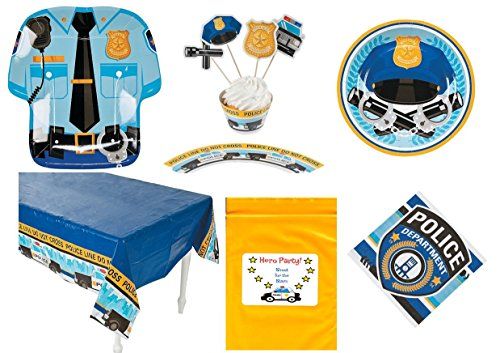 Police-Dept-theme-Birthday-Party-Tableware-Decorations-1-Tablecloth-8-Dinner-Plates-8-Dessert-Plates-16-Napkins-50-Cupcake-wrappers-and-picks-Bonus-Bag