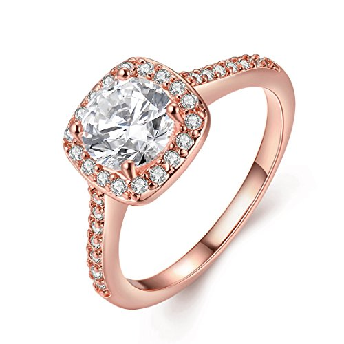 [Eternity Love] Women's Pretty 18K Rose Gold Plated Princess Cut CZ Crystal Engagement Rings Best Promise Rings for Her Anniversary Cocktail Arrow Wedding Bands TIVANI Collection Jewelry Rings