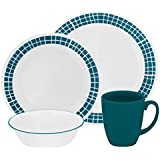 Corelle Livingware 16-Piece Dinnerware Set, Aqua Tiles, Service for 4