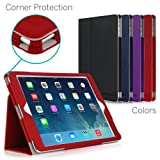 [CORNER PROTECTION] CaseCrown Bold Standby Pro Case (Red) for Apple iPad Air with Sleep / Wake, Hand Grip, Corner Protection, & Multi-Angle Viewing Stand