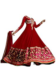 FAUX GEORGETTE ANARKALI SUIT IN RED COLOUR - 1301-Red (SD-1301)