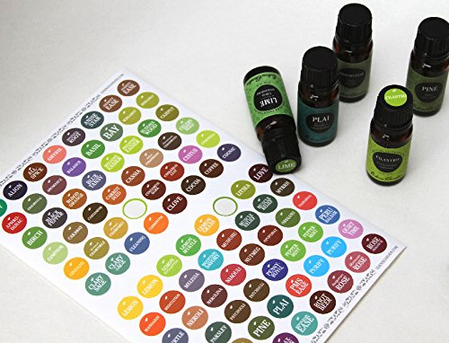 Bottle Cap Stickers/ labels For Essential Oils by Edens