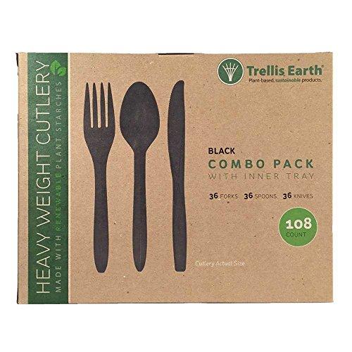 Trellis Earth TRR-CC-B108 Heavyweight Bioplastic Cutlery Retail Box, 6″ Length, Black, 36 each of Fork/Knife/Spoon in tray