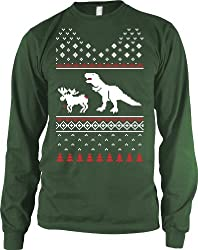 T-Rex Attack Ugly Sweater LONG SLEEVE tee funny Christmas shirt dino tee from Crazy Dog Tshirts
