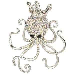 Bridal Silver-Tone Octopus Paul Brooch Clear AB Austrian Crystal A07547-2