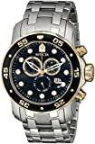 Invicta Mens Pro Diver Scuba Swiss Chronograph Black Dial Stainless Steel Bracelet Watch 80039