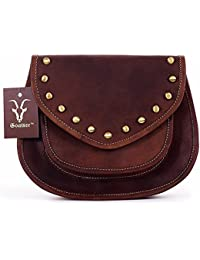 "Goatter Genuine Leather Casual Sling Bag For Girls And Women H7"" L9"" W2.5"""
