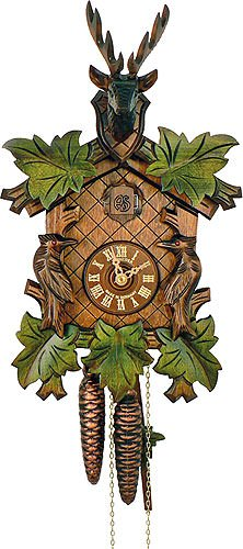 Cuckoo Clock 5-leaves, head of a deer