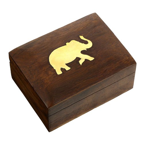 Jewelry Box in Wood Elephant Charm Gift for Women,