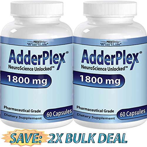 2X Adderplex to Improve Focus Added Attention, Mood, Increase Memory, Concentration, Mental Energy, DR Formulated Safe Anti-Stress Natural Alternative w/ 250mg of Phosphatidylserine. (Focus Pep compare prices)