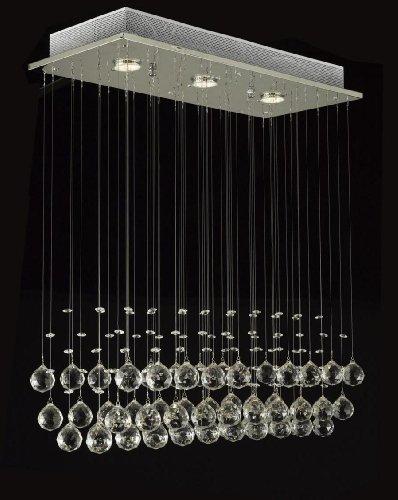 Modern Chandelier Rain Drop Lighting Crystal Ball Fixture Pendant Ceiling Lamp, H39 X W25 X Depth 10, 3 Lights, Free Shipping
