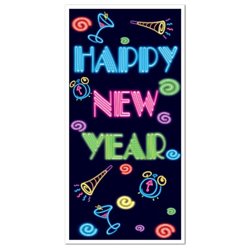 Happy New Year Door Cover Party Accessory (1 count) (1/Pkg)
