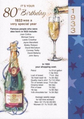 Navy 80th Birthday Card - 1933 Was A Very Special Year - 2013 Year Card - FREE UK POSTAGE