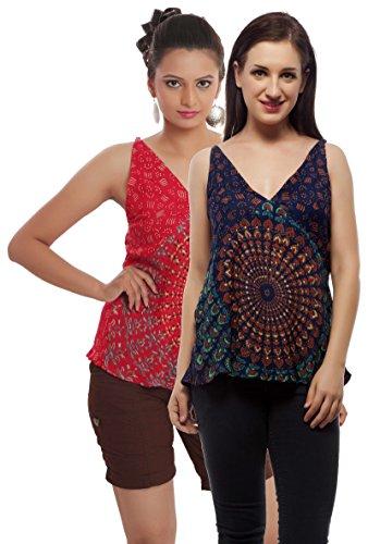 Set of 2 Indi Bargain Rayon Mandala Hand Block Soft Rayon Beachwear Top (204GreenRed)