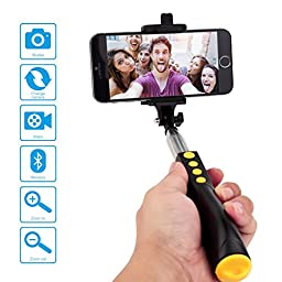 Karnotech REMAX Bluetooth Selfie Stick Foldable Monopod with Built-in Multifunction Shutter for iPhone 6S, 6, 5S, 5, Samsung Galaxy S6, HTC, LG, Nokia (RP-P2 Black)