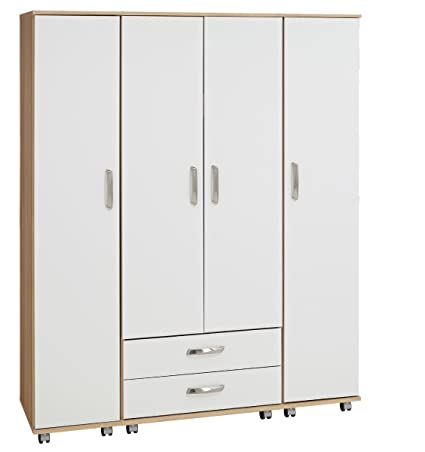 Treat Your Home Rebello 4 Door Plus 2 Drawer Wardrobe, Wood, Sonoma Oak Carcuss/White Gloss Fronts