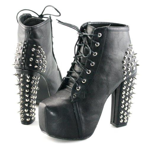 Womens spike stud lace up high block chunky heel