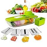 Kainnt Mandoline Slicer/Pflanzliche Slicer/Gemüsehobel 5 in 1 Profi-Mandoline Reibe - Schneiden oder Zerteilen Gemüse Obst schnell und gleichmäßig Best Gemüseschneider Slicer mit 5 verschiedenen Qualitäts-Edelstahl-Klingen