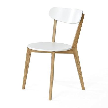 DZW Sedia da pranzo Legno massiccio poltrona sedia del computer Scrivania e sedia poltrona Albero della gomma ristorante soggiorno studia 43 * 46 * 79cm , white, Liscio e forte