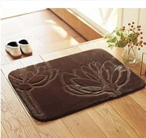 Amazon.com - Ustide 3D Flower Toilet Rug Solid Color Brown ...