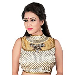 Araja Fashion Silver Color Hand Work with Diamond and mirror work Readymade Designer Saree Blouse