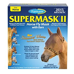 Farnam SuperMask II Fly Control Mask with Ears for Horses, Horse, Copper Mesh with Cheetah Trim