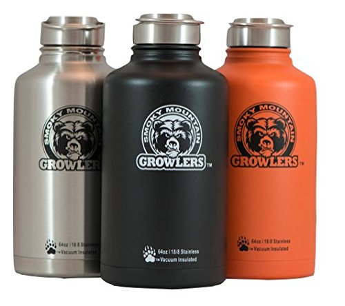 64 oz Insulated Stainless Steel Water Bottle and Beer Growler w/ Steel Lid & Handle - NO PLASTIC - COLD up to 3 DAYS - HOT 24 hrs (Orange) (Orange Juice Flask compare prices)