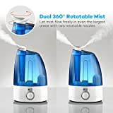 Cool Mist Humidifier, TaoTronics Ultrasonic Air Humidifiers with 2x 360 Degree Rotatable Mist Outputs, Classic Dial Knob Control, 3.5L Large Capacity, Low Water Protection, UPGRADED VERSION
