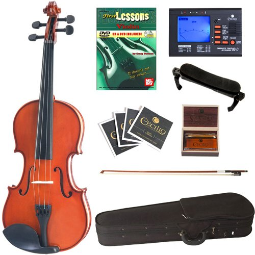 Cecilio CVN-100 Solidwood Violin Package w/ Tuner, Bow, Shoulder Rest, Extra Sets Strings & Lesson Book+DVD in Size 1/2
