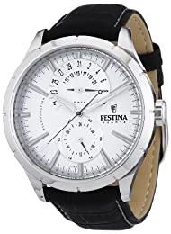 Festina Men's Analogue Watch F16573/1 with Leather Strap and Silver Dial
