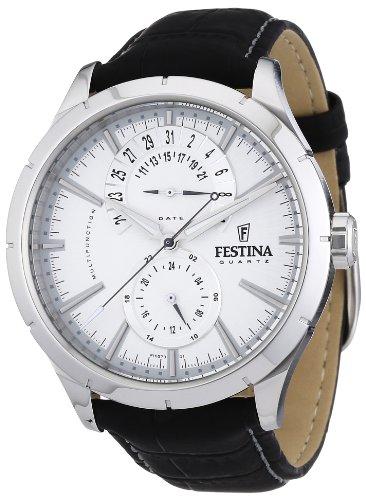 Festina F16573/1 - Reloj analógico de cuarzo para hombre con correa de piel, color negro