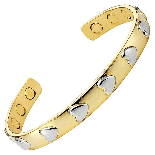 Ladies Love Heart Bangle Bracelet. Brand New in Gift Pouch with Strong 3000g Magnets