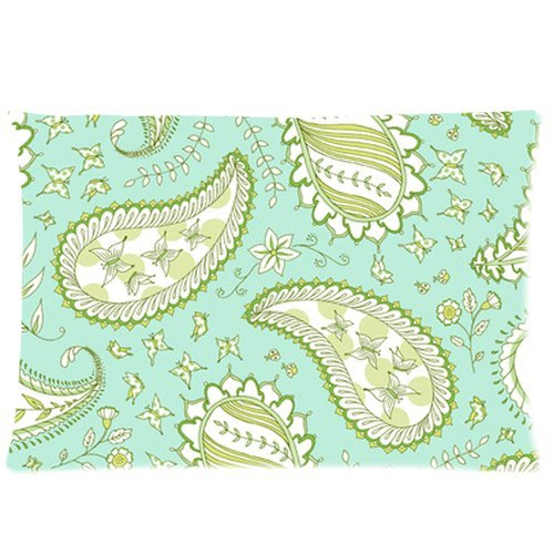 Sky Blue Floral Butterfly Paisley Pattern Custom Zippered Bed Pillow Cases 20X30 (Twin Sides) Fabric Cotton And Polyester front-979104