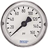 WIKA 9690471 Commercial Pressure Gauge, Dry-Filled, Copper Alloy Wetted Parts, 2