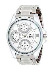 SK Galaxy Silver & White Analog Watch-SAI056