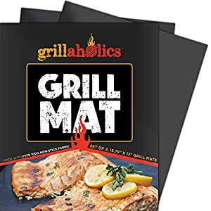 Grill Mat by Grillaholics - Lifetime Guarantee - FREE Bonus - Set of 2 - Best BBQ Grill Mat in Grill Accessories - Reusable and Dishwasher Safe - Heavy Duty Nonstick Grilling Surface for Gas, Charcoal, and Electric Grills - Great Alternative to a Grill Pa