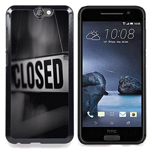 - Closed Sign Store Message Black White - Slim Guardia cassa dell'armatura del telefono- For HTC ONE A9 Devil Case