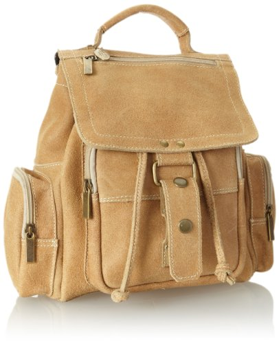 B00884H2EC David King & Co. Mid Size Top Handle Backpack Distressed, Tan, One Size