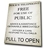 POLICE PHONE BOX Vintage Retro METAL Wall Sign Plaque poster