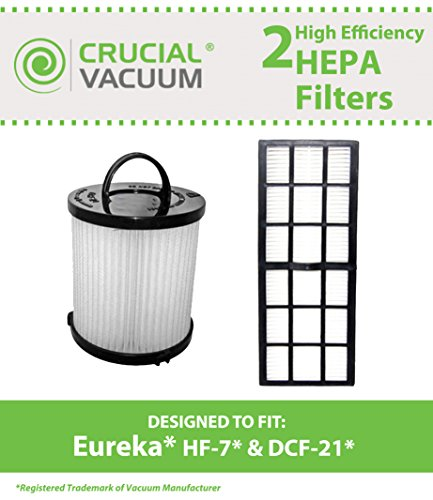 Eureka DCF21 & HF7 Washable Filter Kit, Compare to Part # 67821, 68931 & 61850, Designed & Engineered by Crucial Vacuum (Eureka Vacuum Hf7 Filter compare prices)