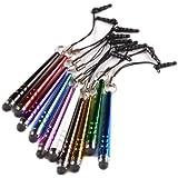 tinxi® 10x universal Stylus Stift Touch Pen Eingabestift mit 3.5 mm Staubschutz in verschiedenen Farben für alle Geräte mit kapazitiven Touchscreen Smartphone Handy PDA Tablet PC