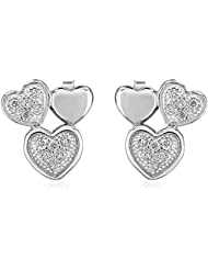 Om Jewells Sterling Silver Trio Tumble Heart Earrings With CZ Stones ER7000105