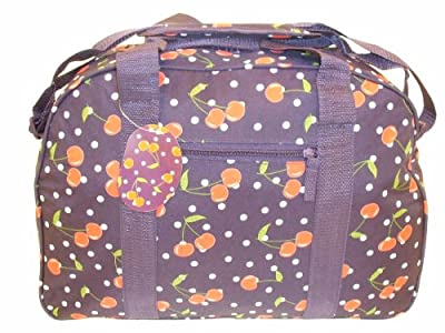 "18"" Navy Cherry Design Ultra Lightweight Holiday Travel Onboard Flight Cabin Approved Bag Sports Gym Holdall"