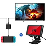 Nicam Foldable Multi-Angle Nintendo Switch Video Game Stand and HDMI Type-C Hub Adapter for Nintendo Switch with HDMI Converter Cable (Black )