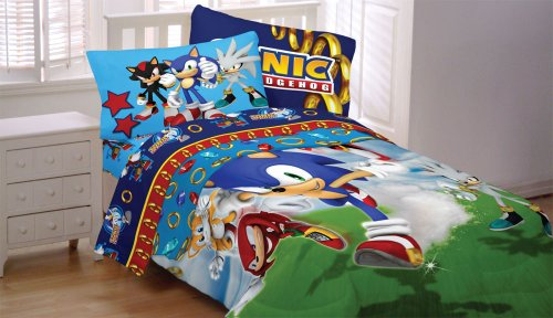 Sonic Hedgehog Speed Video Game 4Pc Twin Bedding Set front-807250