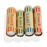 36pc Coin Wrapper Roll Set - 9-Each Quarter Dime Nickel Penny - Made in USA - Color-Coded for Banking Requirements