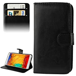 Crazy4Gadget Fine Sheepskin Texture Flip Leather Case with Credit Card Slots & Holder for Samsung Galaxy Note III / N9000 (Black)