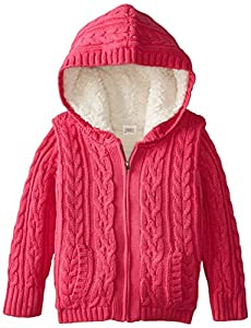 Egg by Susan Lazar Little Girls' Girl Faux-Fur Cable Hoodie, Magenta, 6
